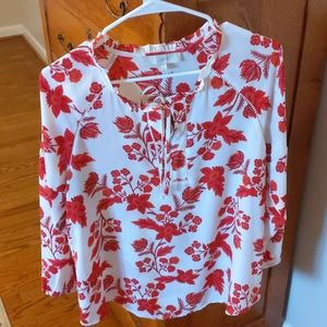 Loft Blouse Size Medium Red & White Floral Print